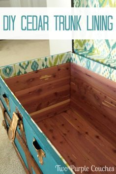 Follow this step-by-step DIY cedar lining tutorial to repurpose a vintage trunk or make your own cedar chest. Perfect for storing clothes, quilts, blankets and more, or just as a unique piece of furniture for your decor! via www.twopurplecouches.com