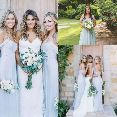 Bridesmaid Dresses Amsale 2017 Gorgeous Draped Off-shoulder Beach Boho Long Bohemian Wedding Party Guest Bridesmaids Gowns Chiffon Cheap