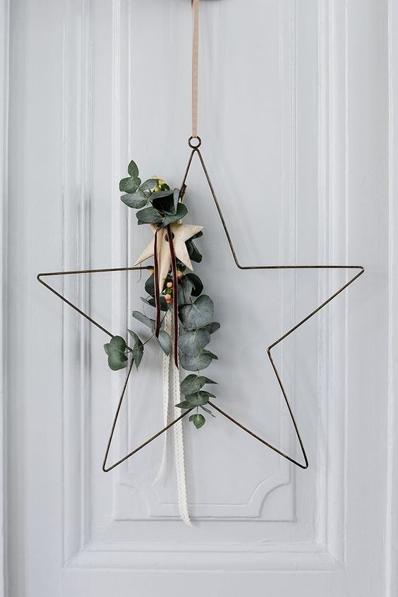 The French Bedroom Company | Get Guest Ready for Christmas over on the blog. Top Tips on organising your home for the festive season - not just christmas decorations, but thinking of chairs, spare bedroom ideas and inspiration for visiting pets. simple scandinavian metal wire star decoration door hanging wreath on white front door with eucalyptus
