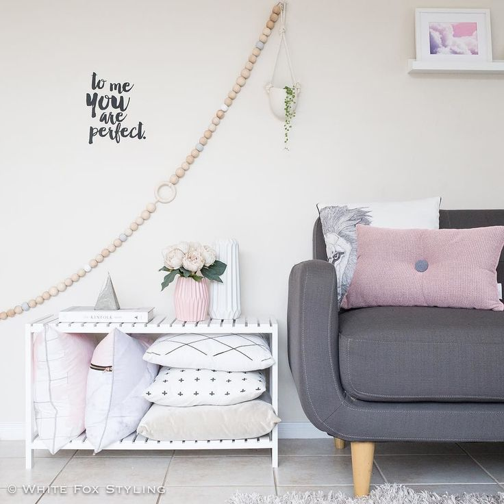 Blush grey and white. Honestly there's no colour combo I love more! And I maaaaay have bought a couple of new things this week - @kmartaus pink and white vases and a fab cushion from @adairs (and a doona cover but that arrives next week - yay!). Amazing how stylish areas really don't have to be costly #whitefoxstyling