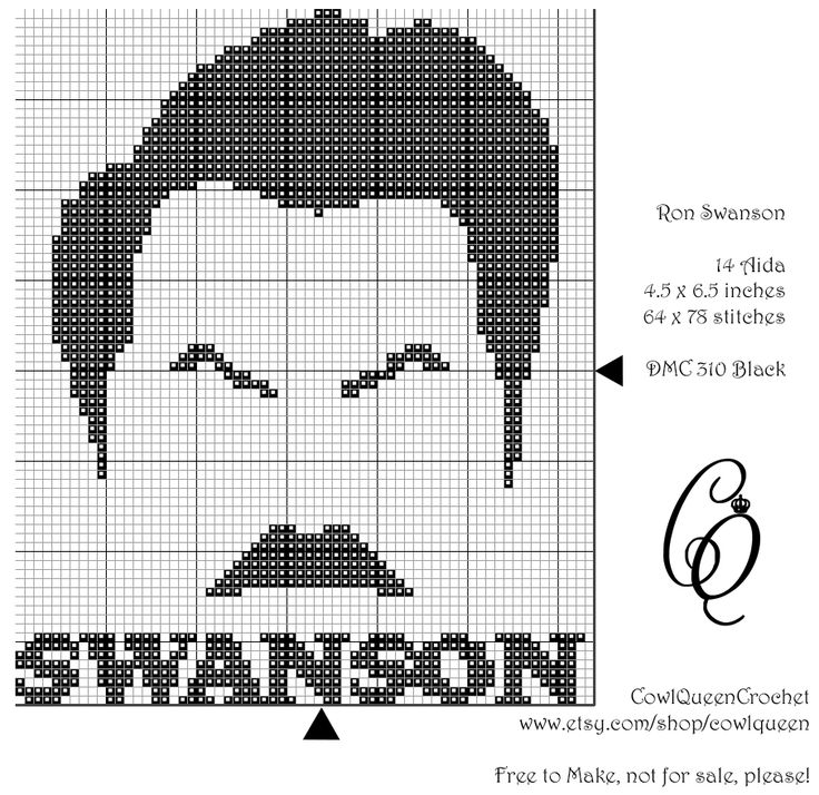 Free little Ron Swanson cross stitch! Free to make, not for sale!