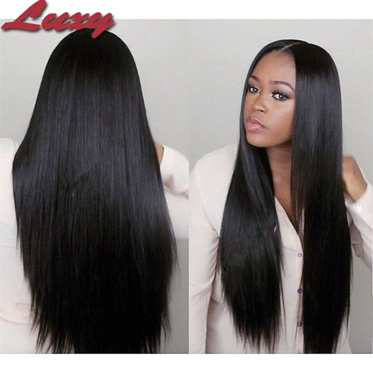 Middle Part 100% Brazilian Remy Hair Lace Front Human Hair Wigs Silk Straight Natural Black Cheap Human Hair Wigs