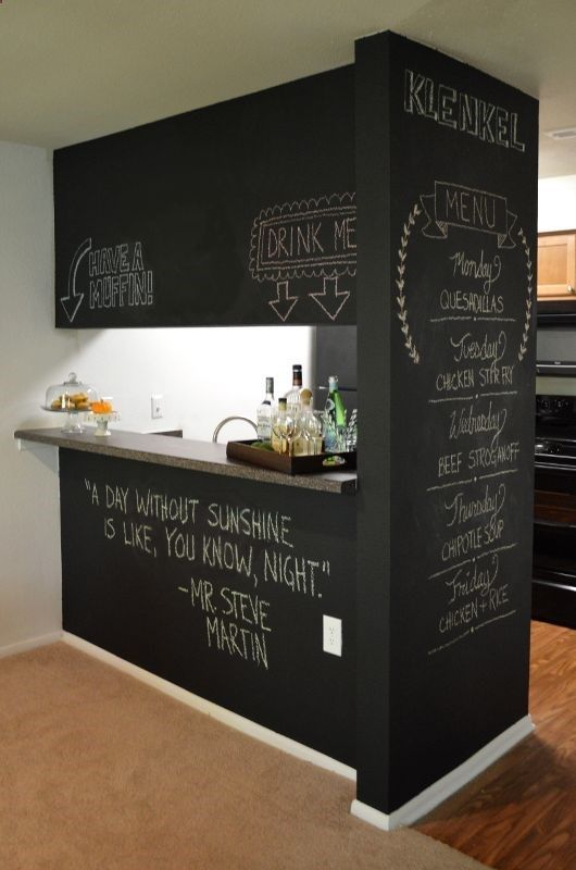 DIY Chalkboard Wall   Fun Idea For A Home Bar! Not Necessarily The  Chalkboard Wall, But A Home Bar Will Be Good Between The Kitchen And  Livingroom.
