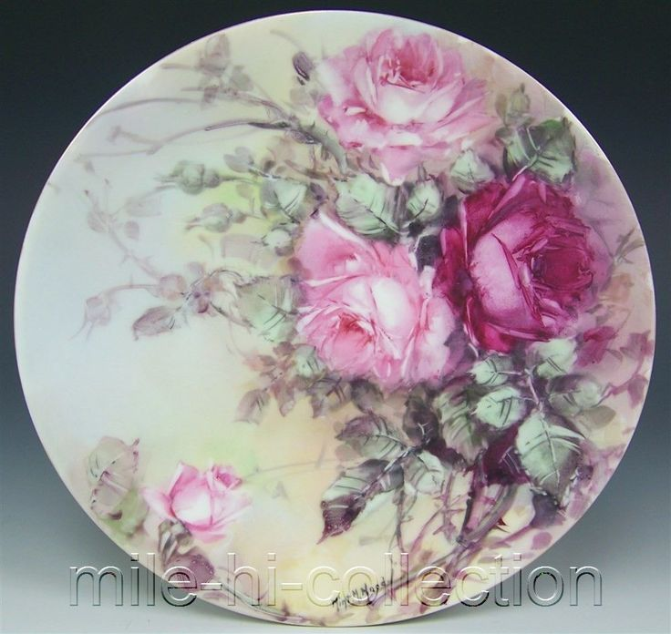 SUPERBLY HAND PAINTED ROSES LIMOGES FRANCE PLATE ARTIST MINT. M. HOOD