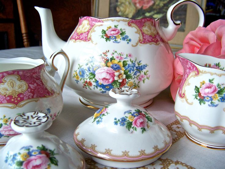 Royal Albert Tea Set Lady Carlyle Pattern 1944 by cynthiasattic. $185.00, via Etsy.
