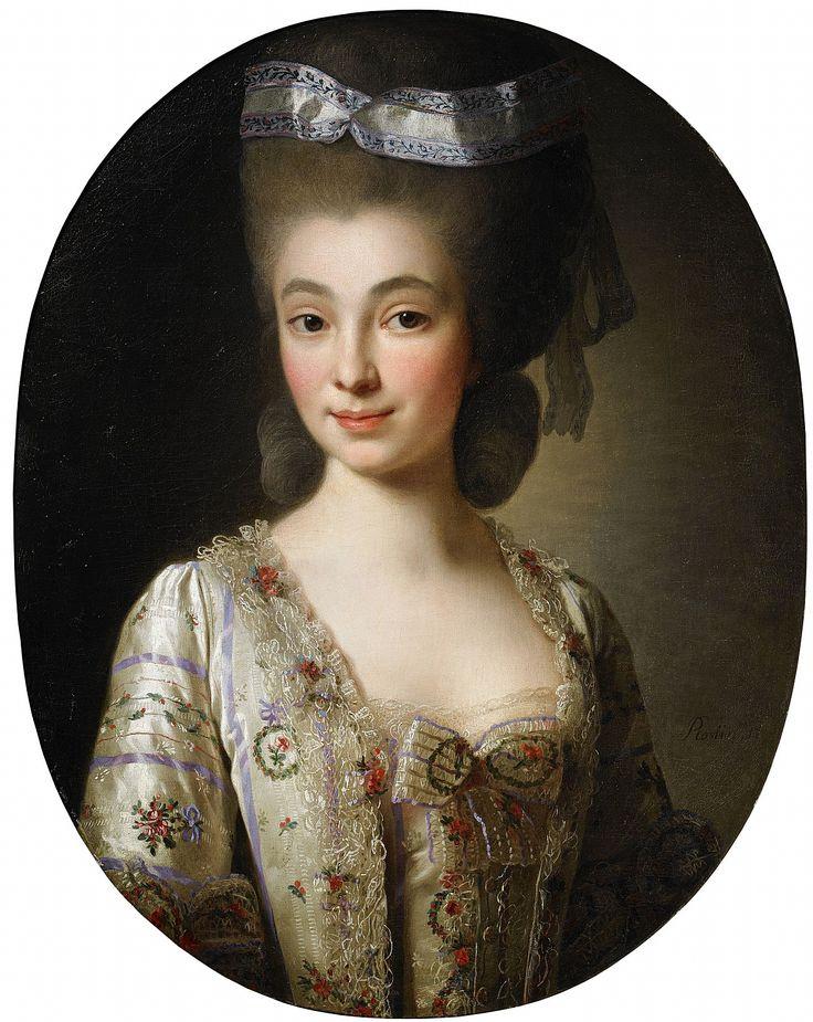 Porträtt av okänd dam - midjebild Signerad och otydligt daterad Roslin 17... . Olja på duk, oval, 64 x 51 cm. Troligen utförd i mitten av 1770-talet
