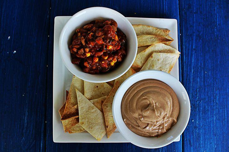Easy Bean Chilli, Kidney Bean Dip and Tortilla Chips