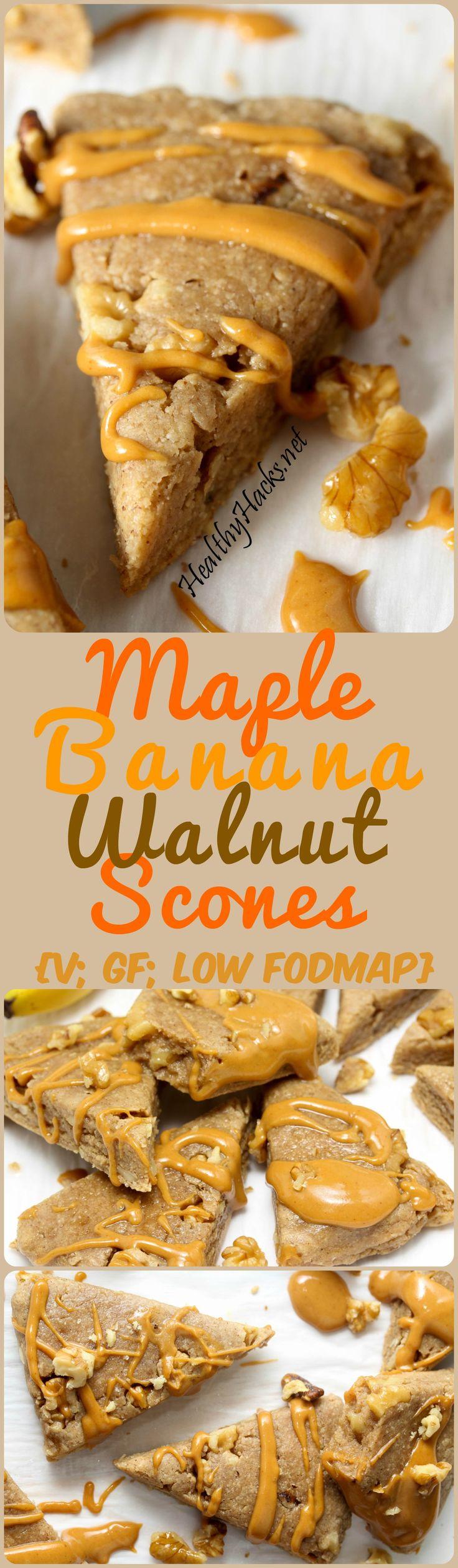 Maple Banana Walnut Scones - vegan; gluten free; low fodmap