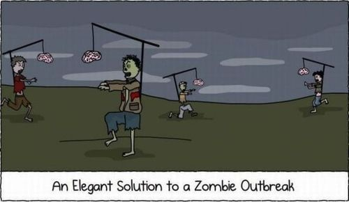 It's so simple!Walks Dead, Funny Pictures, Zombies Apocalyps, Zombies Outbreak, Funny Stuff, Humor, Elegant Solutions, Brain, Zombies Solutions