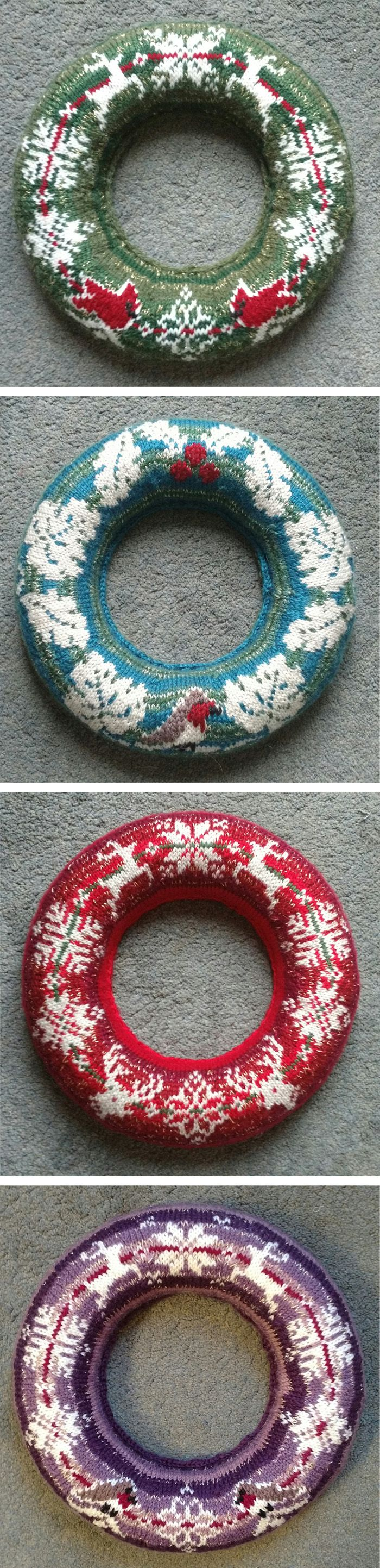 Free Knitting Patterns for Christmas Sweater Wreaths - Four wreath designs inspired by traditional Christmas sweater / jumper Fair Isle and Norwegian motifs. Designs include: Reindeer,Robins (not pictured), Red Cardinals , and Ivy, oak and holly leaves. Designed by Zoe Michel. Final dimensions: 35cm/13.75in diameter
