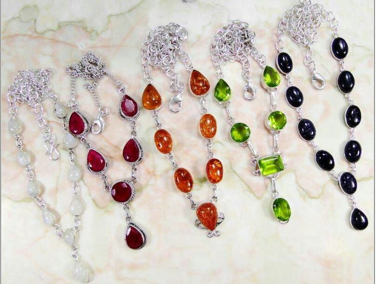 Moonstone, Ruby, Amber, Peridot and Onyx 925 Necklaces