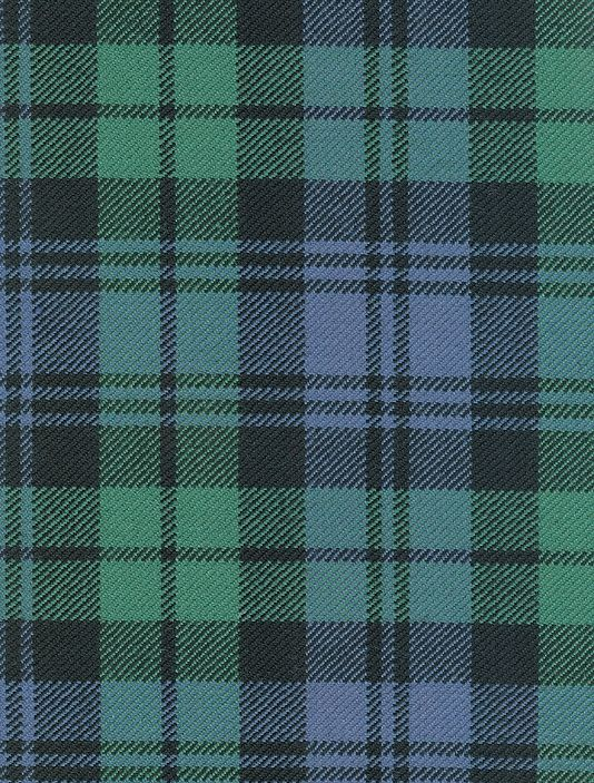 Campbell Tartan Fabric Wool tartan in pale blue and apply green with black.