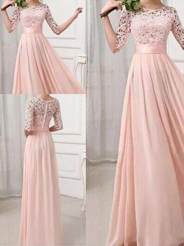 Blush Pink Patchwork Lace Pleated Half Sleeve Chiffon Maxi Bridesmaid Dress Maxi Dress Prom Chiffon Fashion Maxi Bridesmaid Dresses