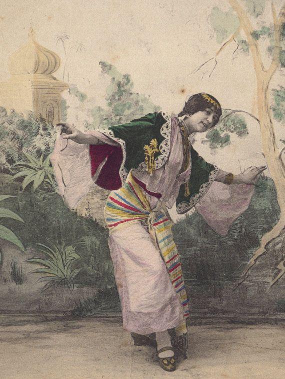 La Danse Orientale, Hand-Colored French Postcard circa 1905