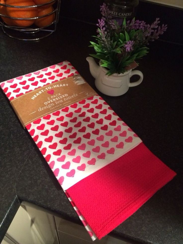 2 Oversized Pink Red Heart 100%cotton Tea Towels