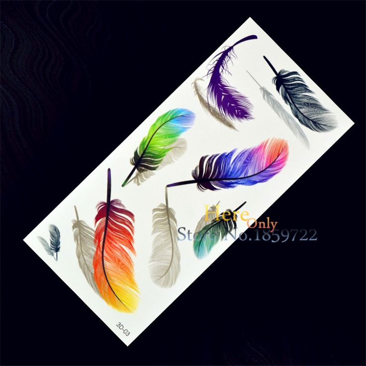New 1PC Fashion Women Men Waterproof Temporary Tattoo Simulation Removable Vivid Body Art 3D-03 Colorful Feather Blue Orange