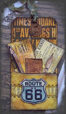 Riding the Rails: Gifts Cards, Travel Journals, Hanging Tags, Paper Art, Night Long, Cards Tags, Route 66, Tim Holtz, Scrapbook Pages