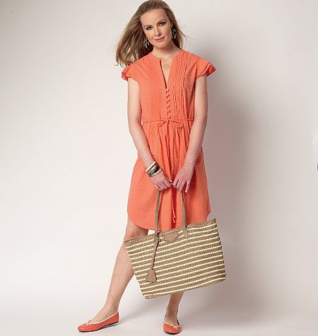 Breezy tunic and dress sewing pattern that's so perfect for summer. Features pintucks and button details. B6208, Misses' Tunic and Dress