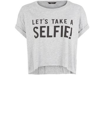 Teens Grey Selfie Cropped T-shirt
