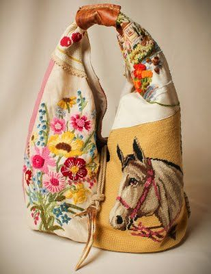 TO DO: great project idea for all of those beautiful needlepoints and stained linens at tag sales... Use the best parts for a bag...! Love this horse and floral combo