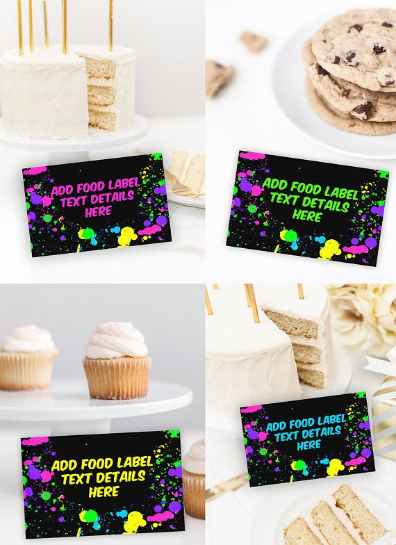 Neon Glow Food Labels  Neon Glow Birthday Party  Food Labels #neonparty #partyideas #neonglowlabels #labels