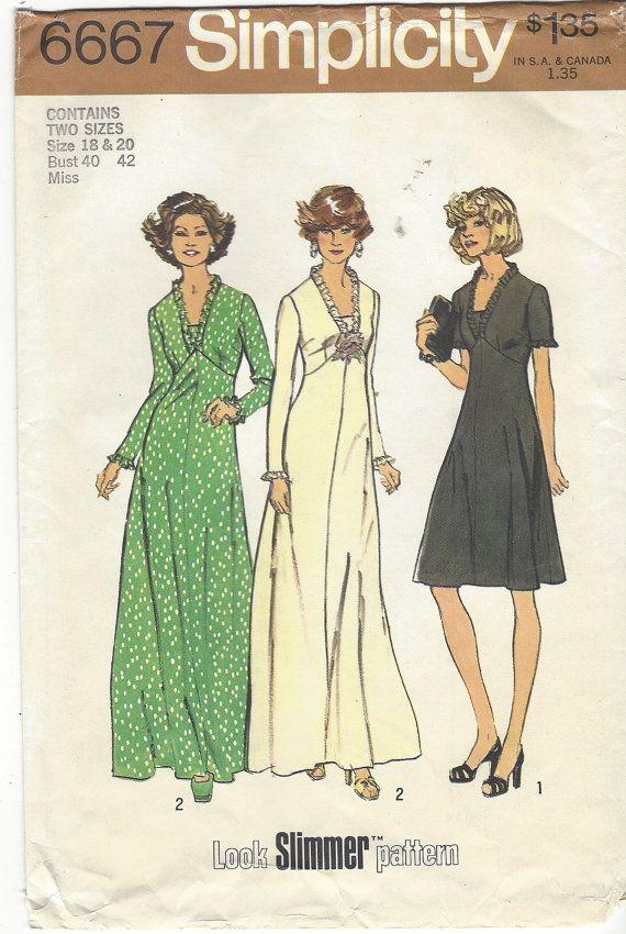70s Womens Empire Waist Dress Day or Evening Length Simplicity