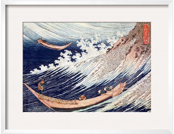The Art Studio Two Small Fishing Boats on the Sea by Katsushika Hokusai (Framed Giclee)