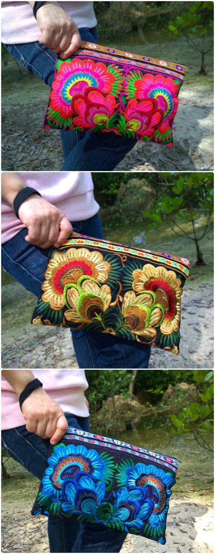 Boho Clutch - Hmong Clutch Bag -Embroidery Floral Bag - Bohemian Clutch ( FREE SHIPPING WORLDWIDE )