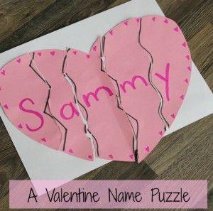 Valentines crafts for preschoolers - valentine name puzzle