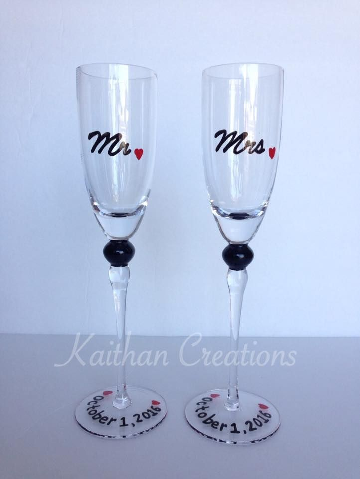 Mr & Mrs Wedding Champagne Flutes by Kaithan Creations. Can be customized. Visit my Facebook page to place your orders. https://www.facebook.com/kaithancreations/photos/a.218304591702629.1073741829.216663808533374/494479487418470/?type=3