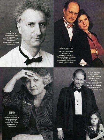 Left top: Ira Magaziner, served as Clinton's senior adviser for policy development; Right top: Strobe Talbott became deputy Secretary of State; Bottom left: Talbots's wife, Brooke Shearer, was on Hillary's White House staff; Bottom right: Harold Ickes, whose father served under F.D.R., was Bill Clinton's deputy chief of staff. Photos by Annie Leibovitz for Vanity Fair January 2009.
