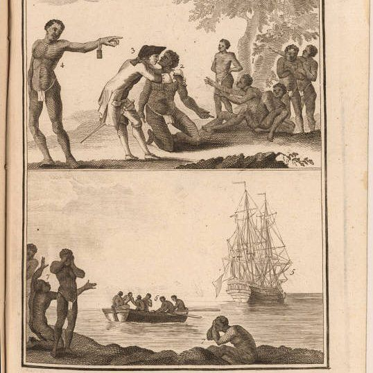 Description: [top] Slave market with a slave being examined before being purchased. At left a slave bears a bracelet. [bottom] The slave ship waits for the purchased slaves while a boat with slaves is rowed to it. A group of blacks laments their departure. Items in the image are numbered for identification in adjoining text.  Source creator:  Chambon M.  Source Title: [Commerce de l'Amérique par Marseille] Traité général du commerce de l'Amérique  Tome second  Source place of publication:  A…