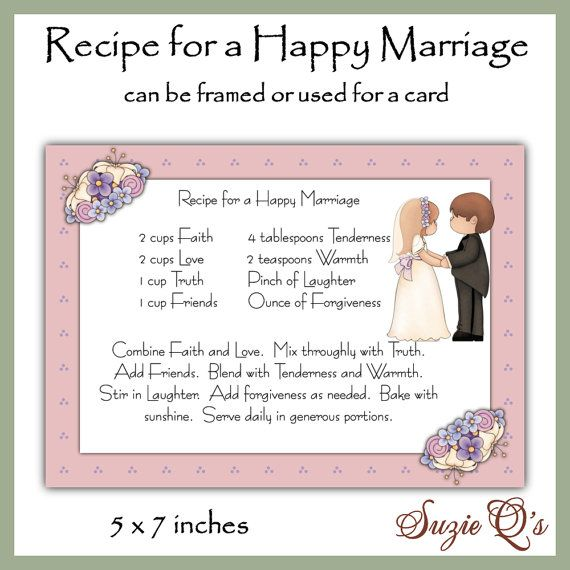 Recipe for a Happy Marriage Card Front - Digital Printable - Immediate Download