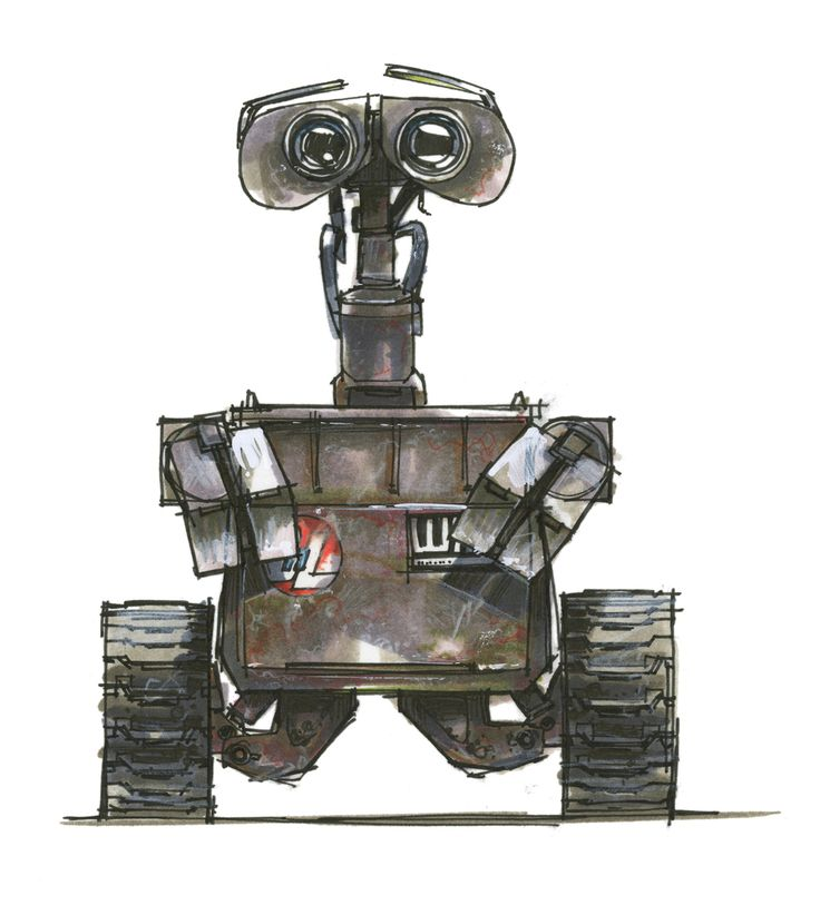Jay Shuster, design drawings / concept art for the movie Wall-E, 2008. Ink and marker on photocopy. Pixar Animation Studios, © Disney/Pixar USA. Via Cooper Hewitt