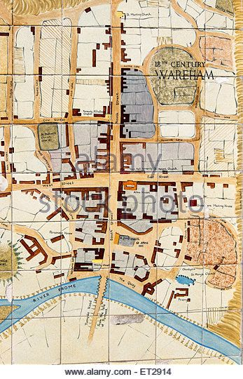 Tiled map of Wareham on a wall in the town centre showing the river Frome - Stock Image