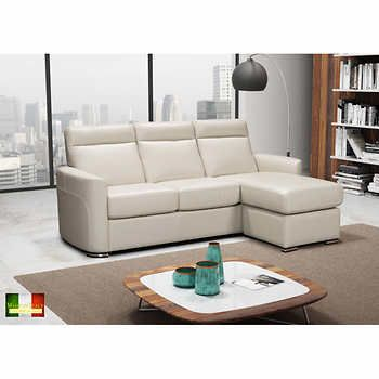 Norma Grey Top Grain Leather Sofa with Reversible Chaise