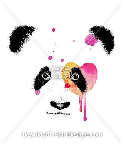 Water Color Heart Eye Baby Panda. Download and print on your T-Shirts or products today: Download now at: http://downloadt-shirtdesigns.com/downloadt-shirtdesigns-com-2122794.html