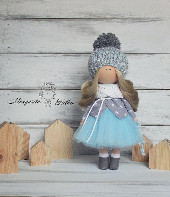 Soft doll handmade light blue grey Nursery decor doll Home doll Art doll Baby doll unique magic doll by Master Margarita Hilko