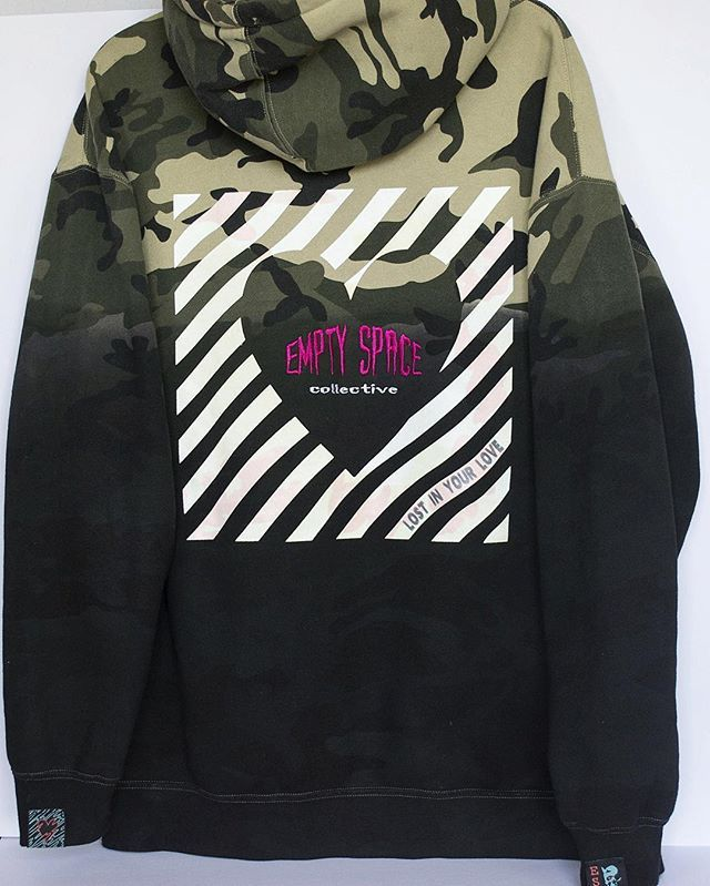Glow in the dark Empty Space heart logo / Lost in Your Love dip-dyed hoodie. Blending streetwear and high fashion for humans