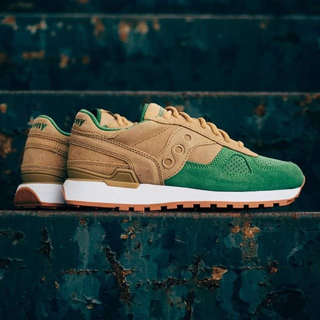 Buttery Suede Covers This Tan/Green Saucony Shadow Original