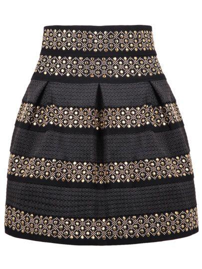 High Waist Rivet Studs Striped Skirt -SheIn(Sheinside)
