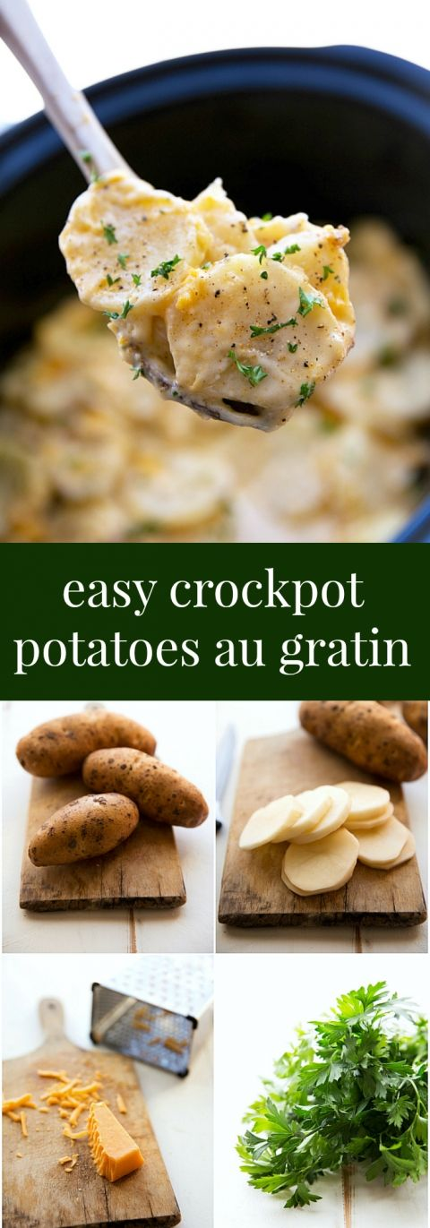 Easy Slow Cooker Potatoes Au Gratin -- a perfect Thanksgiving side-dish -- save room in the oven with this easy dish! Plus a secret tip to get the potatoes crispy!!
