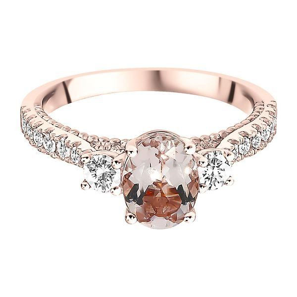 Shades Of Love Morganite 1 2 Ct Tw Diamond Ring In 10k Rose Gold Helzberg Rose Gold Oval Engagement Ring Pink Engagement Ring Beautiful Engagement Rings