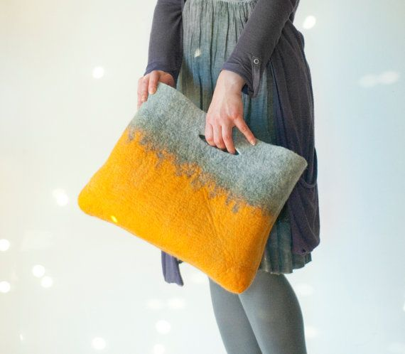 SMALLER Mustard Grey Sturdy Everyday Art Bag / Carryall / Tote / Basket / Shopping / Market / Picnic / Hand felted wool / Wearable Art