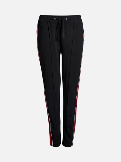 Joggers in a soft weave with an elasticated drawstring waist, side pockets and tapered legs. Stripy details in the sides.    Musta