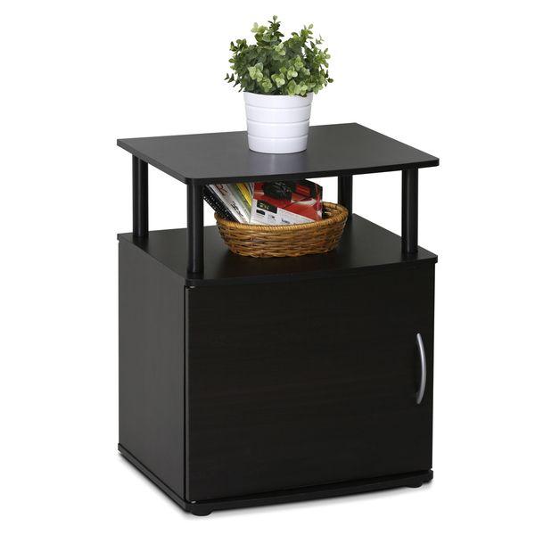 Furinno Jaya Black MDF Utility Design Storage End Table
