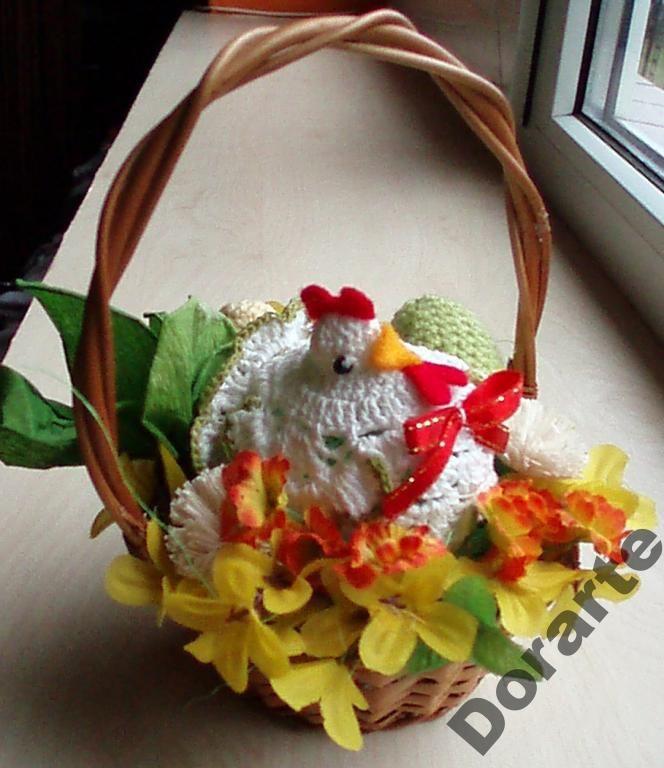 Koszyczek Wielkanocny, Koszyk, Stroik - Rękodzieło