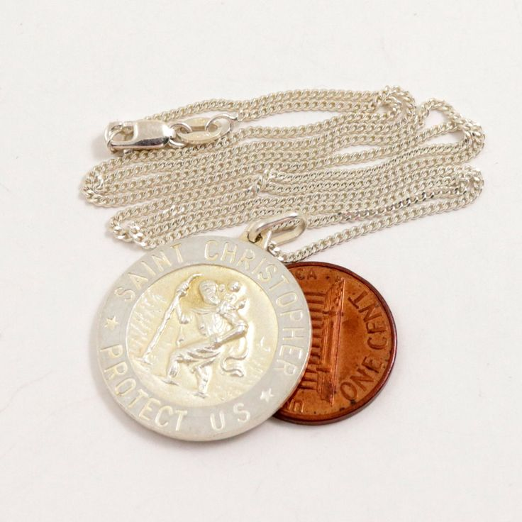 Vintage St Christopher Medal Pendant Chain Necklace, 925 Sterling Silver, IBB Italy by mybooms on Etsy