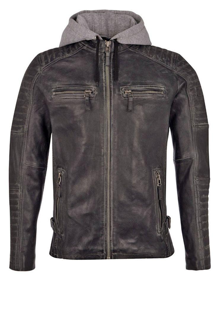 Freaky Nation MOTORHOOD Kurtka skórzana black 1,089.00zł #moda #fashion #men #mężczyzna #freaky #nation #motorhood #kurtka #skórzana #black #czarny #męska #kaptur #jesienna #wiosenna
