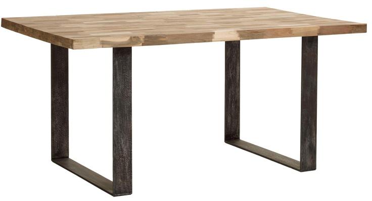 Table salle à manger - Table Mosaique pied métal et teck lisse blanc/gris/noir en mélange - M73 - Bois brut - Indoor - Nos collections kok maison